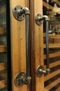 Industrial Steampunk Door or Drawer Handle Industrial Pipe Fittings Pair
