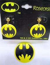 Vtg Nos Batman Pierced Logo Earrings & Batman Logo Pin Rosecraft DC Comics 1964