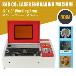 40W CO2 Laser Cutter Engraver 12x8in OMTech K40 Laser Cutting Engraving Machine
