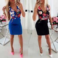 ❤️ Womens V Neck Sleeveless Bodycon Vest Dress Evening Cocktail Clubwear Dresses