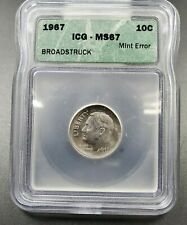 1965 P Roosevelt Dime Coin MS67 ICG Large Capped Broadstrike Error