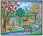 "VINTAGE ORIGINAL HAITIAN ART PAINTING FRITZ MERISE ""AFRICAN ANIMALS"" LANDSCAPE"