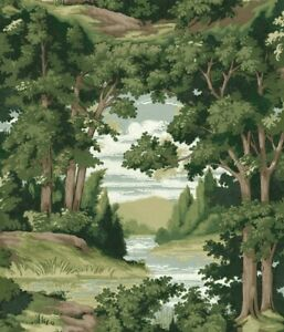 Forest Lake Scenic Wallpaper HO3301 trees brown green Sure Strip prepasted