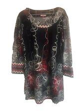 Joe Browns Red Black  Geometric Gothic Tunic Dress UK 16 Soft Casual