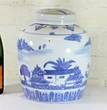An Oriental Ceramic Ginger Jar Vintage Chinese Hand Painted with Flowing Scenes