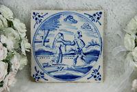Antique 18thc DELFT pottery tile ceramic Bible religious scene
