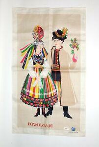 Vintage Linen European Folk Art Lowicz Couple Tea Kitchen Dish Towel Made Poland