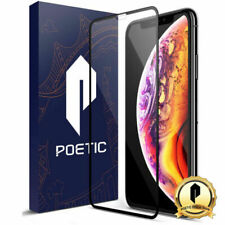 """for iPhone XS Max 6.5""""poetic Case Tempered Glass Screen Protector Black USA"""