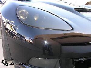 2005 - 2013 Corvette C6 Smoked Head Light Fog Overlay Film Tint - 6 PIECE KIT