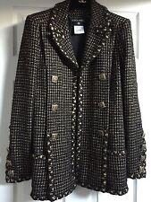 Chanel 11A NEW Paris-Byzance Black Gold GRIPOIX buttons JACKET COAT FR42-40 $9K