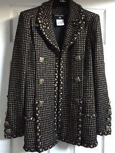 Chanel 11A NEW Paris-Byzance Black Gold GRIPOIX buttons JACKET COAT FR42-FR40