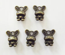 10 lapin Charms Bunny Charme Pendentifs - 16 mm, Antique Bronze