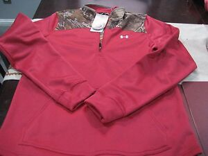 WOMENS Under Armour COLDGEAR REALTREE CAMO PINK HUNT 1/4 ZIP TOP L LARGE NWT