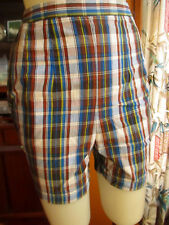 "23"" 23W Waist True Vtg 60s Side Zip High Waist Thin Plaid Ivy League Shorts"