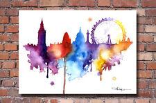 London Skyline 2 Watercolor Painting Art Print by Artist DJ Rogers