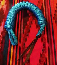 """14' x 9/16""""  BLUE Yacht Horse Lead Rope Lunge Line w Spliced Loop + Tail USA"""