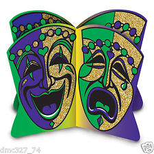 MARDI GRAS Fat Tuesday Party Decoration Comedy Tragedy Glittered Centerpiece