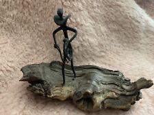 Horseshoe Nail Sculpture Art On Wood Man Roping By Laura Adams S105