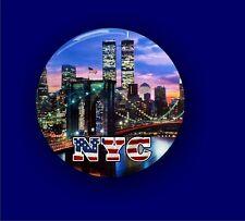NYC Twin Towers / Brooklyn Bridge - Large Button Badge - 58mm diam