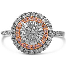 Ring W Pink Diamonds R216 2.28Ctw Round Cut Double Halo Engagement