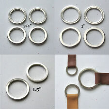 "Round Flat Circle Rings Nickel Plated 1.5"" 1"" 3/4"" High Quality D Rings"