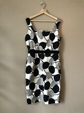 David Meister Black And White Floral Sleeveless Sheath Dress Women's Size 12