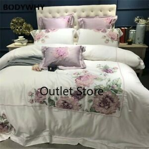 Luxury Egyptian Cotton Embroidery Duvet Cover Set 4/7 Pieces  Bedding Set Bed