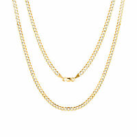 "Solid 10K Yellow Gold 3mm Diamond Cut Pave Cuban Curb Chain Necklace 16""- 30"""