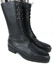 Eddie Bauer Granny Combat Black Leather Lace Up Boots Women's 9.5 Italy