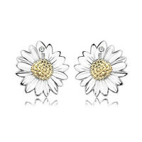 Women Girl Fashion Solid 925 Silver Austrian Crystal Sunflower Stud Earrings