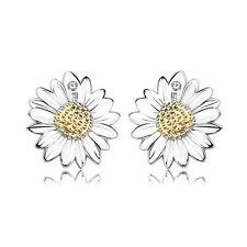 Simple Fashion Solid 925 Silver Austrian Crystal Sunflower Ear Stud Earrings
