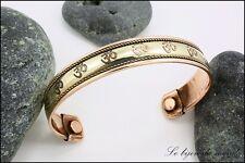 bracelet magnetique en cuivre couvert bijoux ethniques ciselé et doré AIBCF 01