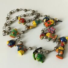 Vintage Hand Painted Tropical Creature Necklace - Turtles, Birds and Fish