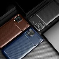 For Samsung Galaxy F62 / M62 Slim Carbon Fiber Shockproof Rugged TPU Case Cover