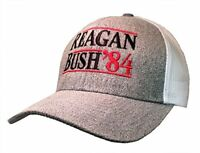Reagan Bush 84 Campaign Adult Trucker Hat-Heather Grey with White Mesh