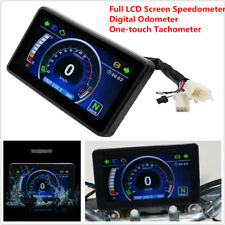 Motorcycle Full LCD Speedometer Digital Odometer One-touch Conversion Tachometer
