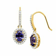 3 3/8 Ct Simulated Tanzanite & CZ Drop Earrings in 14k Gold on Sterling Silver