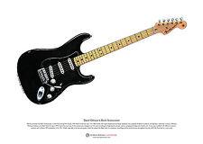 David Gilmour's Black Stratocaster ART POSTER A3 size