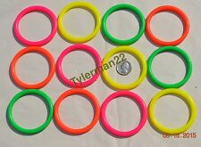 "12 LARGE HARD COLORFUL PLASTIC 2.75"" TOY RINGS BIRD PARROT FOOT TOYS PARTS"