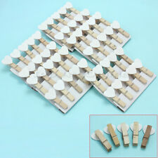 50Pcs White Heart Mini Wooden Pegs Clips Kids Crafts Wedding Party Favor Supply