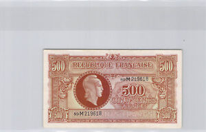 "Treasure 500 Francs "" Marianne "" Type 1945 Series M N° 89M219618 Pick 106"