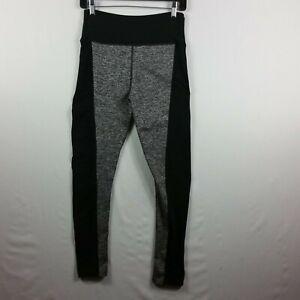 Womens Medium Grey Black Color Block Stretch Workout Pants
