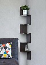 5 Tier Corner Shelf Rack Floating Wall Mount Shelves Wooden Unit Brown Mahogany