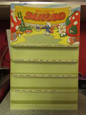 VERY RARE VINATGE ORIGINAL PLASTIC SMURFLAND SMURFS SHOP DISPLAY STAND