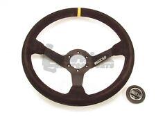 Sparco R325 Steering Wheel 350mm Black Suede Round w/ Yellow Centering Stripe