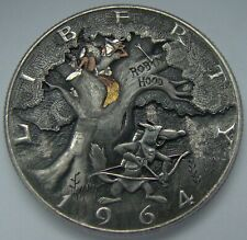 Hobo Nickel engraved coin silver 1964 half dollar