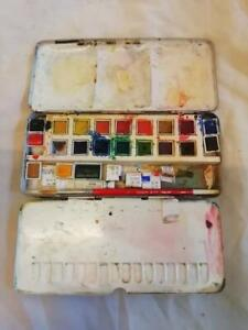 FINE ANTIQUE REEVES & SONS METAL PAINT BOX WITH PAINTS