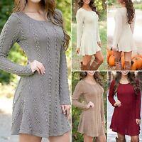 New Women Winter Long Sleeve Jumper Tops Knit Sweater Longshirt Tunic Mini Dress