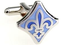 Fleur-de-lys Cufflinks Blue Lily Wedding Fancy Gift Box Free Ship USA