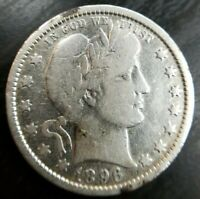 1896 O BARBER QUARTER Toned - Fine F Dets Cleaned All Letters in Liberty Visible